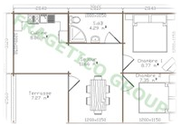 Plan casa din lemn Model P FRG 43+7T