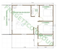 Plan casa din lemn Model P FRG 68+17T